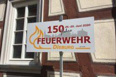 Schild: 150 Jahre Feuerwehr Dieburg