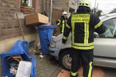 Verunfallter PKW gegen Mülltonnen