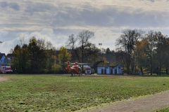 Gelandeter Hubschrauber im Schlossgarten