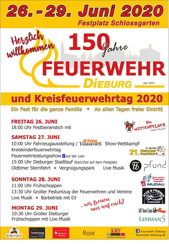 Plakat 150 Jahre Feuerwehr Dieburg